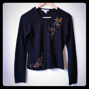 Free People Black Embellished Cardigan Size M
